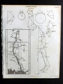 Rees 1820 Antique Print. Astronomy 06 Degree. Finland Sweden Baltic Map